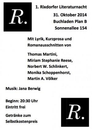 1. Rixdorfer Literaturnacht, 31. Oktober 2014