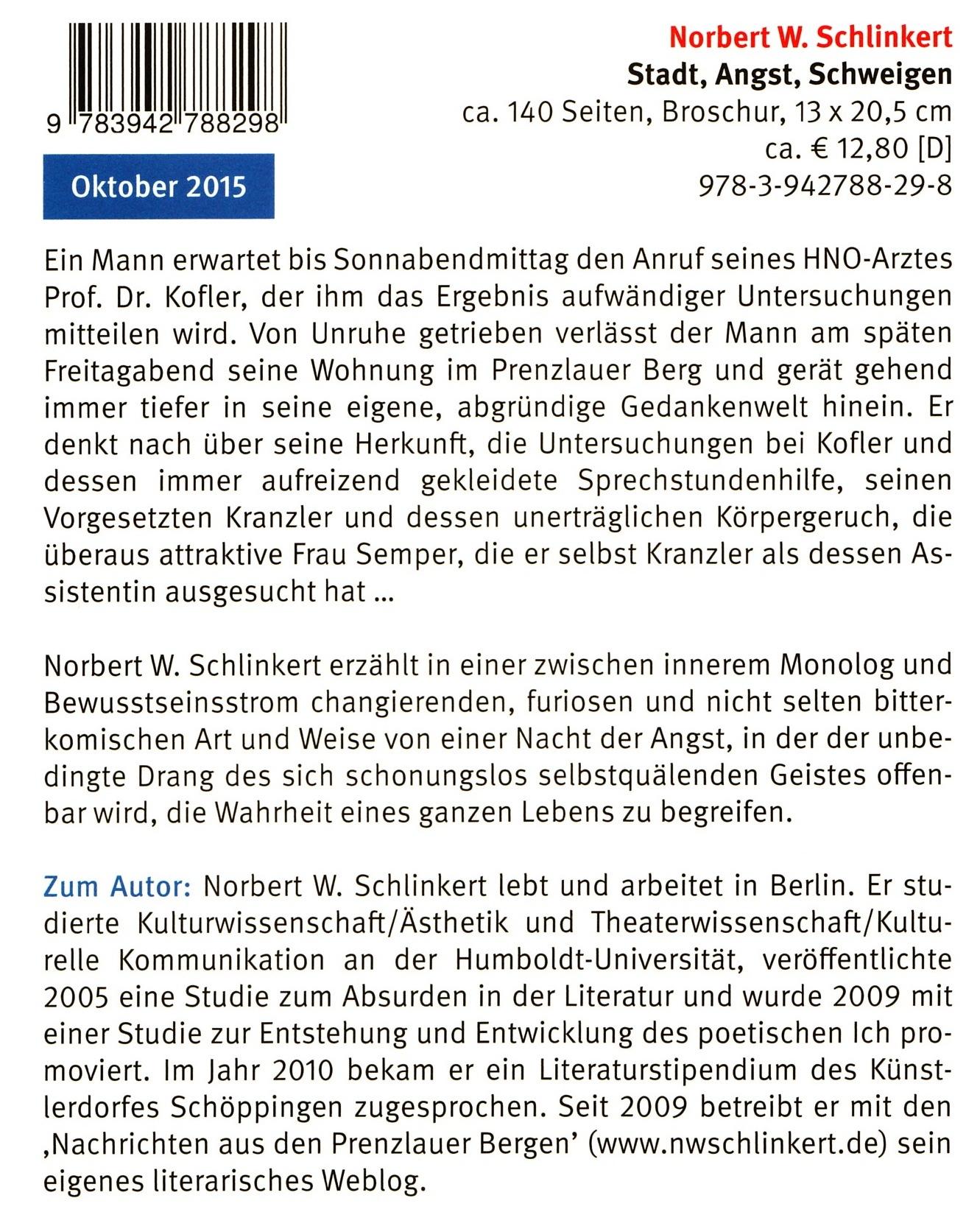 Norbert W. Schlinkert. Stadt, Angst, Schweigen. Elsinor Verlag, Okt.2015