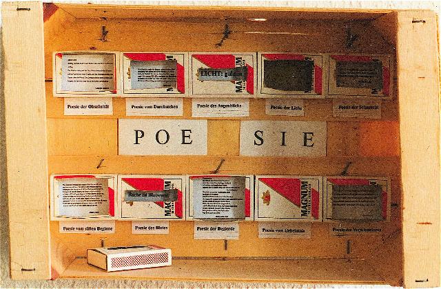 Poesie, 1996, 20 x 30 x 10 cm, Holz, Papier, Streichholzschachteln, © Norbert W. Schlinkert